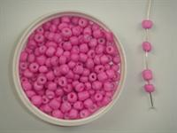 Glasperle 4 mm farvet pink 100 g.